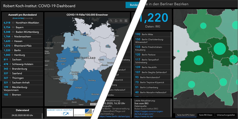 Screenshots zweier Dashboards zur Verbreitung von COVID-19 in Deutschland und Berlin