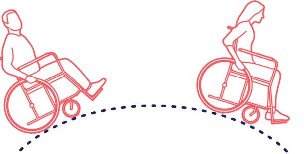 Silhouetten einer Rollstuhlfahrerin und eines Rollstuhlfahrers