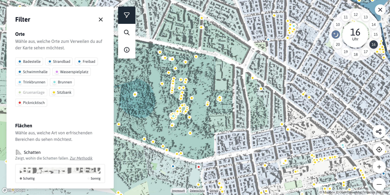 """Screenshot der Kartenanwendung """"Erfrischungskarte"""". Zu sehen sind eine Karte von Berlin mit Schattenwürfen der Gebäude, sowie wichtigen Objekten wie Sitzbänke, Trinkbrunnen etc."""