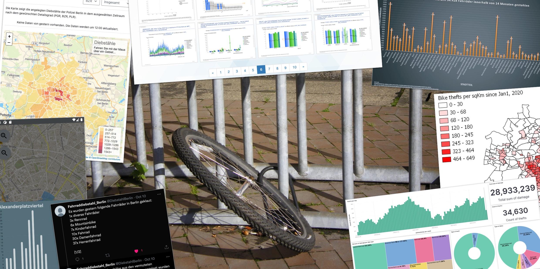 """Collage von Visualisierungen zum Datensatz """"Fahrraddiebstahl in Berlin"""""""