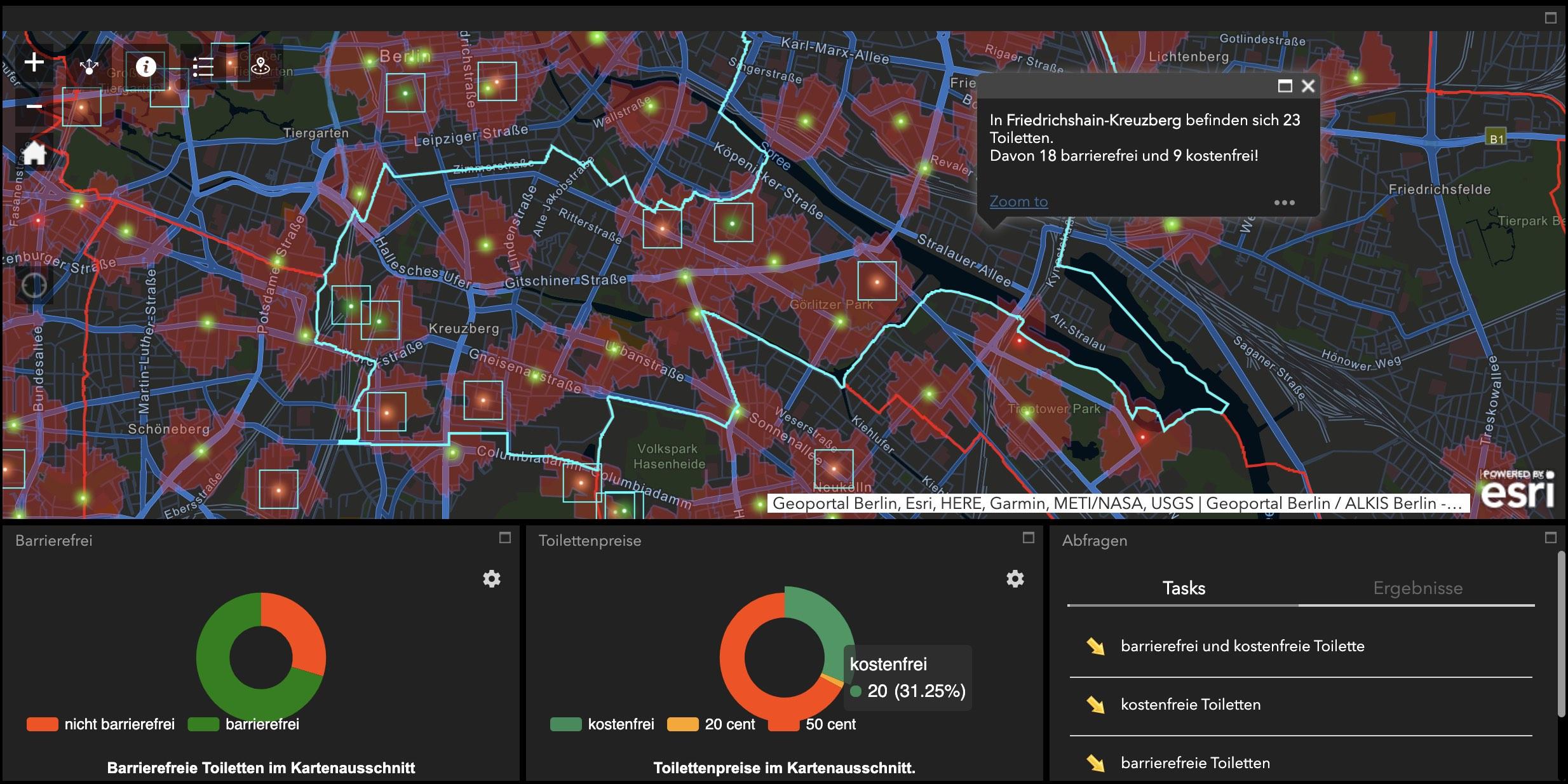 Screenshot der Kartenanwendung zu den Standorten öffentlicher Toiletten in Berlin