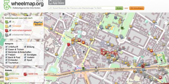 Wheelmap Rollstuhlgerechte Orte finden