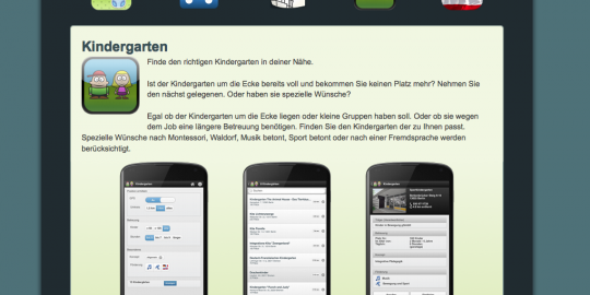 Screenshot der Website der Kindergarten-Suche