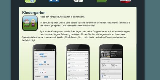 Screenshot der Website der Kindergarten-Suche