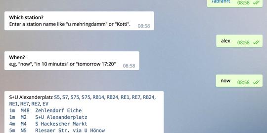 Screenshot des VBB Telegram Bot