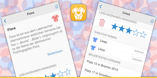 Ein Screenshot der Vornamen App
