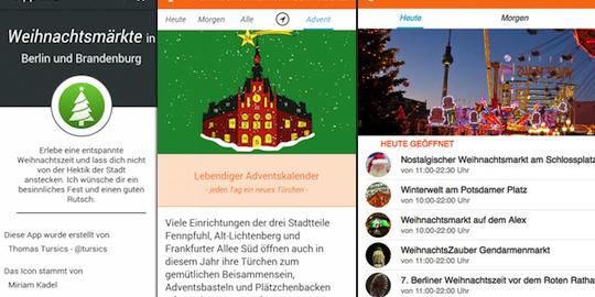 Screenshot Weihnachtsmärkte in Berlin und Brandenburg