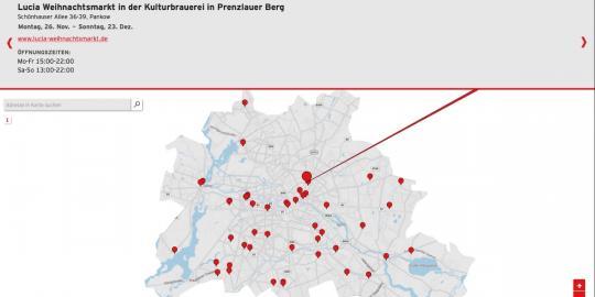 Screenshot der Weihnachtsmärkte-App des rbb. Der Lucia-Markt im Prenzlauer Berg ist ausgewählt.