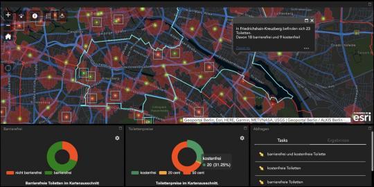 ArcGIS-Kartenanwendung, die die Standorte der öffentlichen Toiletten in Berlin zeigt