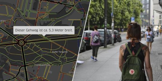 """Screenshot und Foto zur Webanwendung """"Berliner Gehwegbreiten"""""""