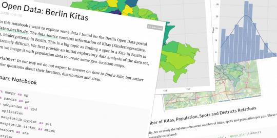 """Screenshots des Artikels """"Open Data: Berlin Kitas"""" mit Text, Diagrammen und Sourcecode"""