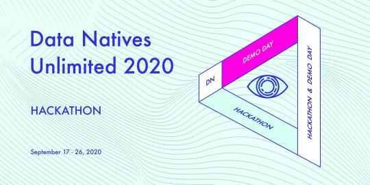 """Logo und Schriftzug der Veranstaltung """"Data Natives Unlimited 2020 Hackathon"""""""