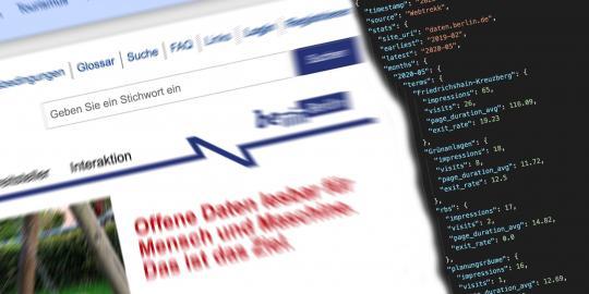Suchfeld des Berliner Datenportal und Ausschnitt aus Daten der Suchbegriffe eines Monats
