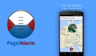 Pegelalarm Logo und ein Screenshot der Applikation.
